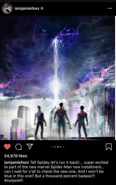 Jamie Foxx's Spider-Man Instagram Post